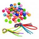 Perles en bois avec lacets - 4 ans